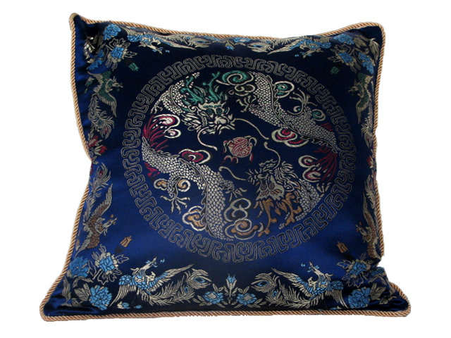 Cushion Cover - Blue with Dragon & Phoenix