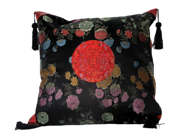 Cushion Cover - Black with Flowers