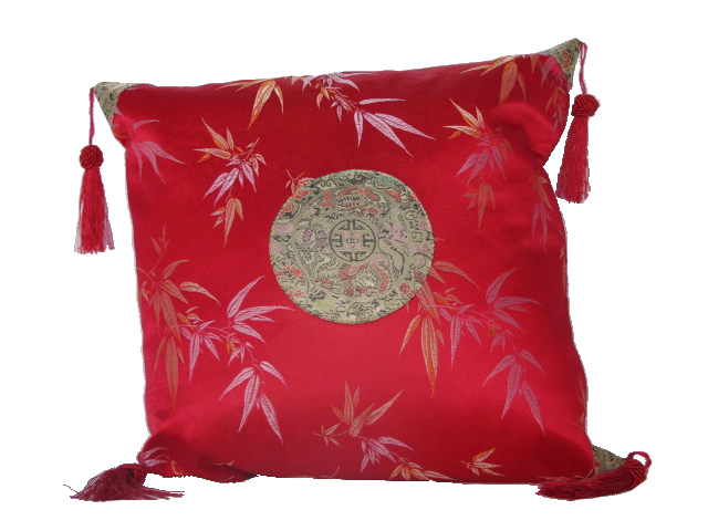 Cushion Cover - Red with Bamboo
