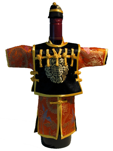 Wine Bottle Cover - Qin 3 Piece Orange & Black
