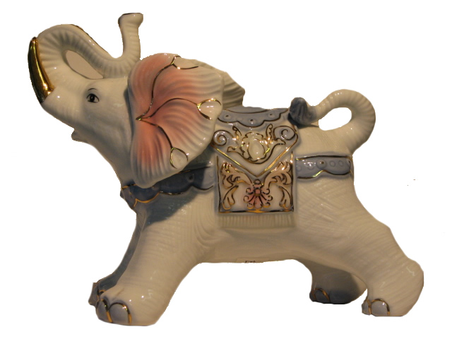 Porcelain Elephant - Large - Light Blue & Pink on White