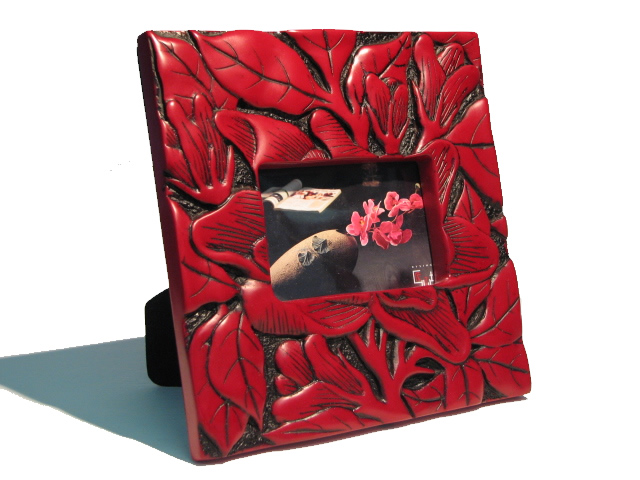 Photo Frame - Red Water Lilly Leaves
