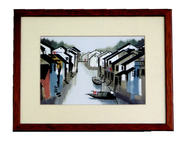 Framed Silk Embroidery - Water Village Scene - Urban