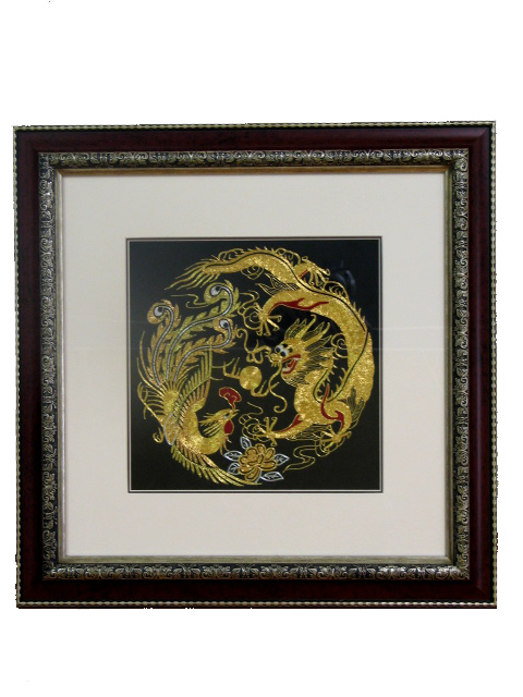 Framed Silk Embroidery - Dragon & Phoenix 25 cm