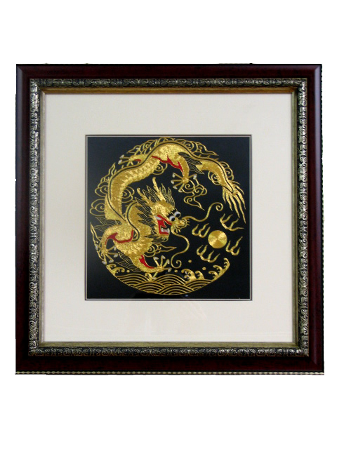 Framed Silk Embroidery - One Dragon 25 cm
