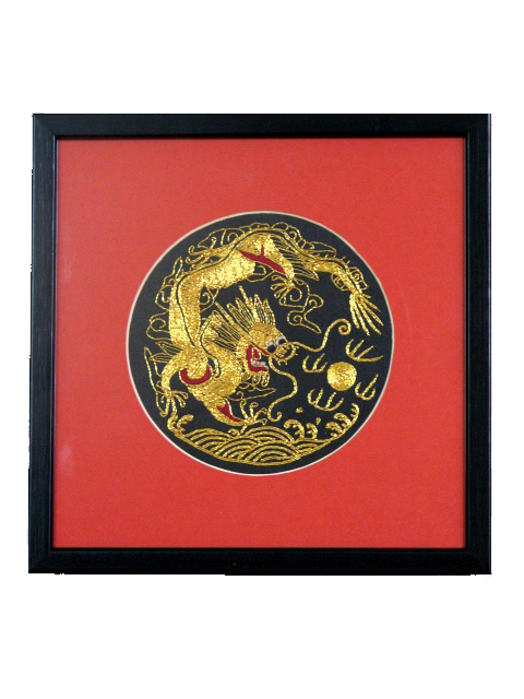 Framed Silk Embroidery - One Dragon 12 cm