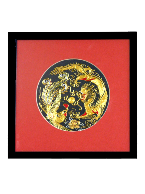 Framed Silk Embroidery - Dragon & Phoenix 12 cm