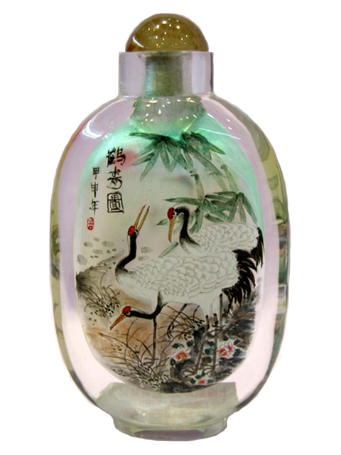Large Bottle - Cranes & Pine