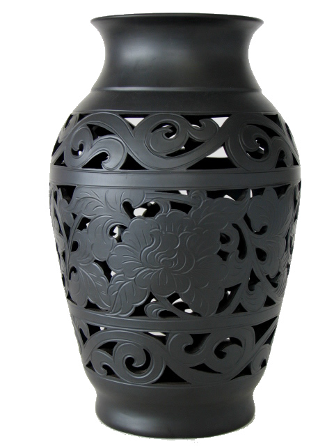 Hand Carved Dry Vase with Scrolls and Flowers
