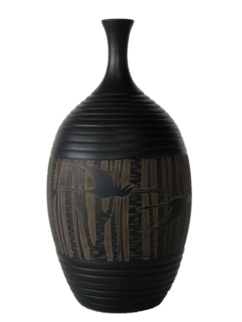 Narrow Neck Vase -Cranes & Bamboo