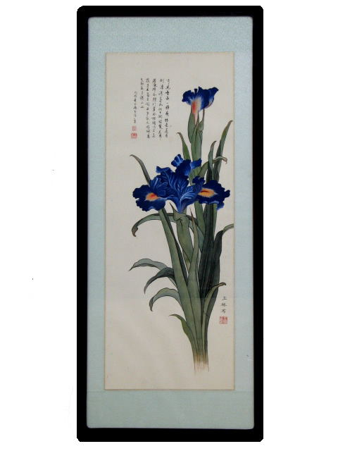 Traditional Chinese Art - Framed - Blue Flowers